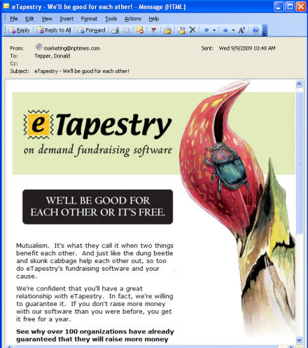 eTapestry compares itself and its customers to dung beetles and skunk cabbage