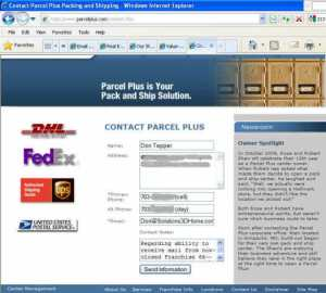 Parcel Post contact form